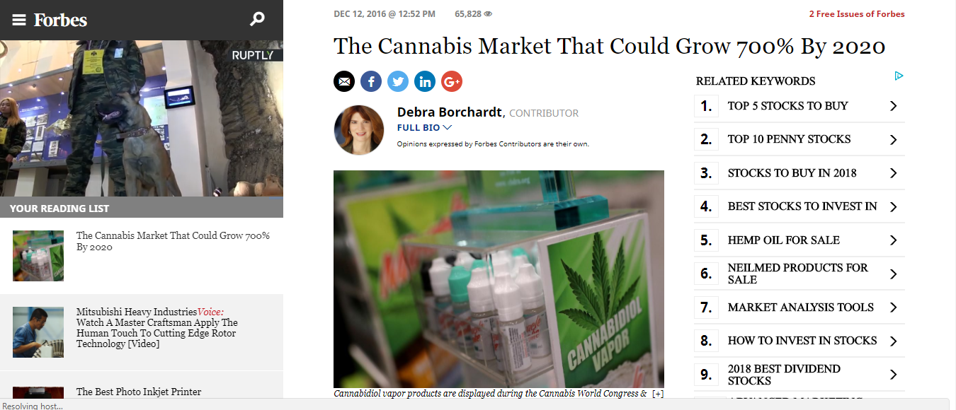 Graphic from article on CBD markets growing 700% in Forbes.